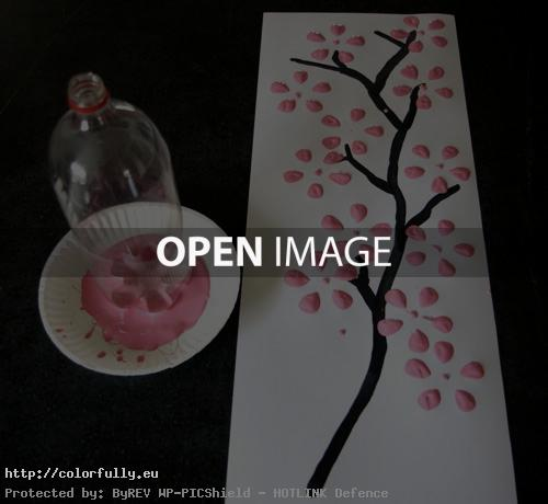 How to make tree painting with a bottle