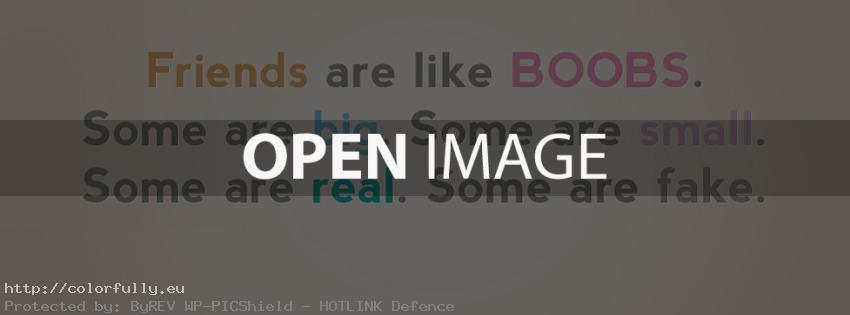 Friends are like boobs - Facebook cover