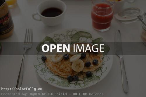 Pancaces, bananas, blueberries - Perfect healthy-breakfast