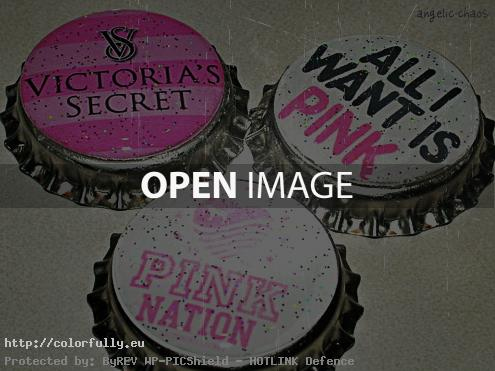 Pink Victoria's Secret bottle caps