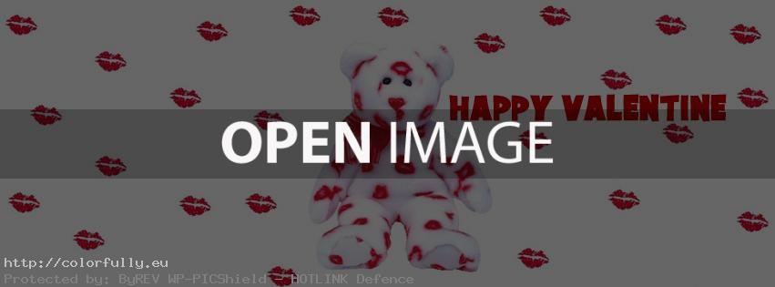 Bear ear with kisses - Happy Valentine - Facebook cover