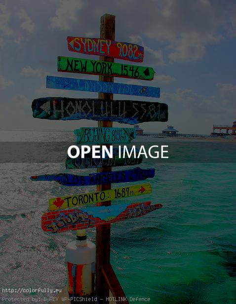 Colorful sea signboards