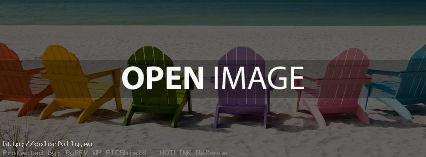 Colorful benches at the beach – Facebook cover