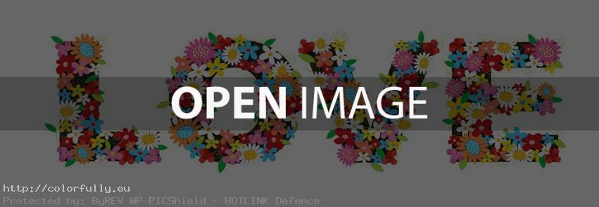 Flower love text - Facebook Cover