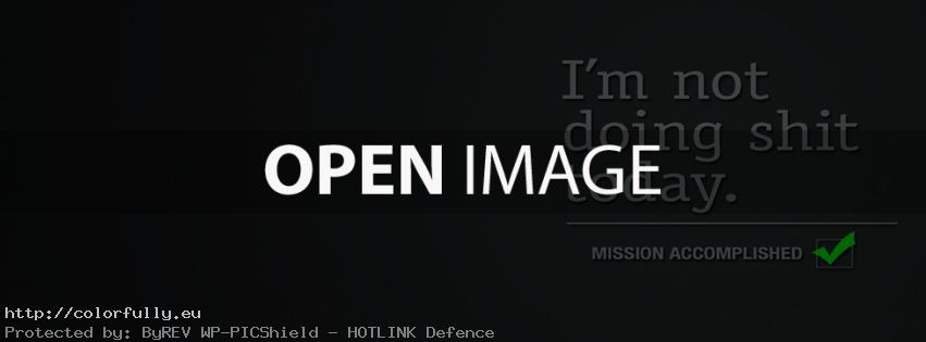 I am not doing shit today - Mission accomplished - Facebook cover