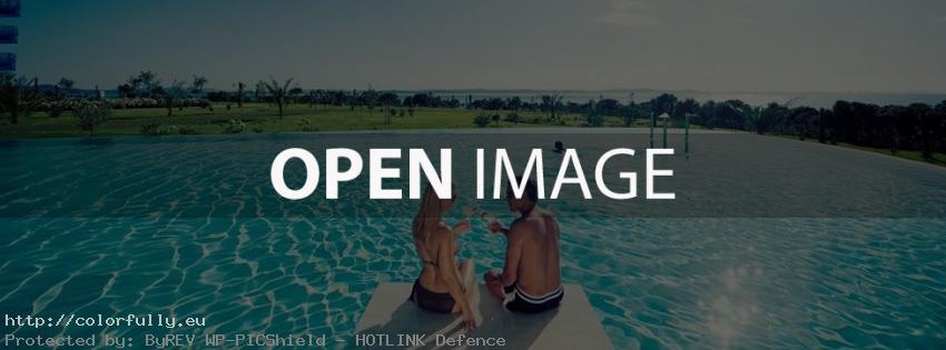 Beloved couple in a pool - Facebook cover
