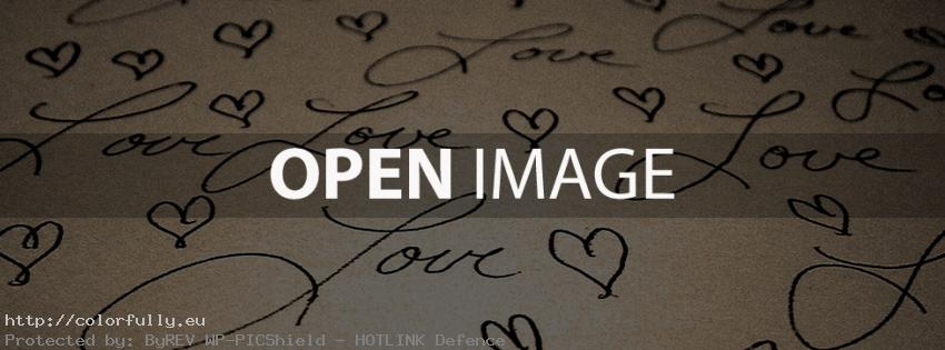 Love text and hearts - Facebook cover