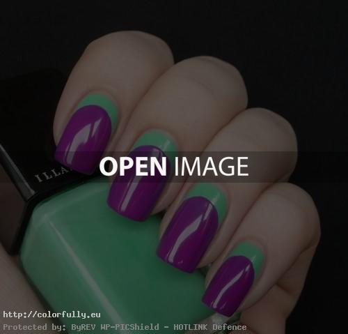 Green and purple manicure