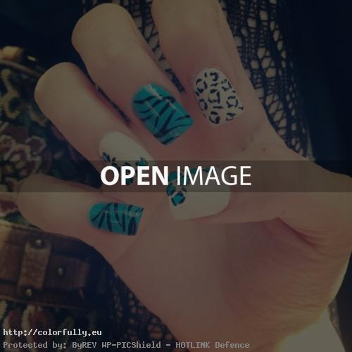 White and blue manicure - Girl fashion