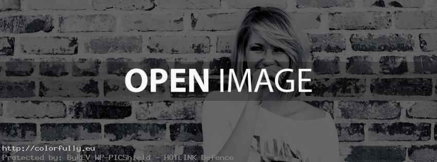 Black and white blonde girl and wall with bricks – Facebook cover