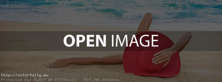Girl with red hat lay on the beach – Facebook cover