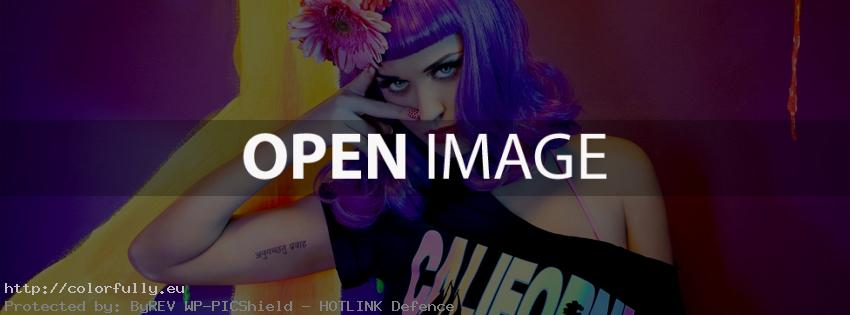 Katy Perry with colorful clothes, hair and make up - Facebook cover
