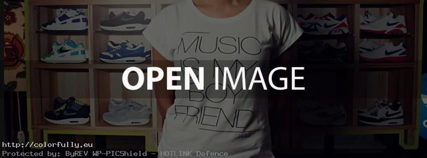 Music is my boyfriend – T-shirt – Facebook cover