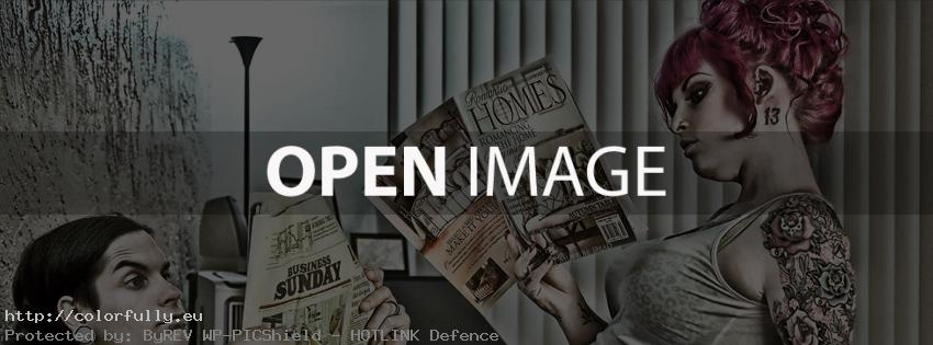 Tattoo couple in the bed read newspapers – Facebook cover