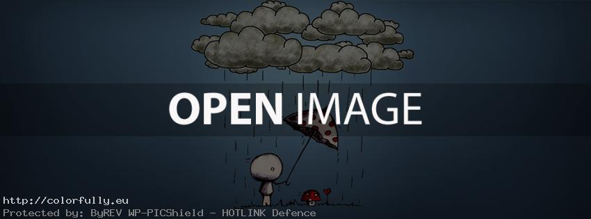 Clouds, rain, umbrella, love, mushroom – Facebook cover