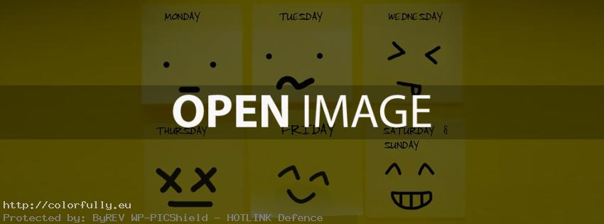 Days of the week – Sticky notes – Facebook cover