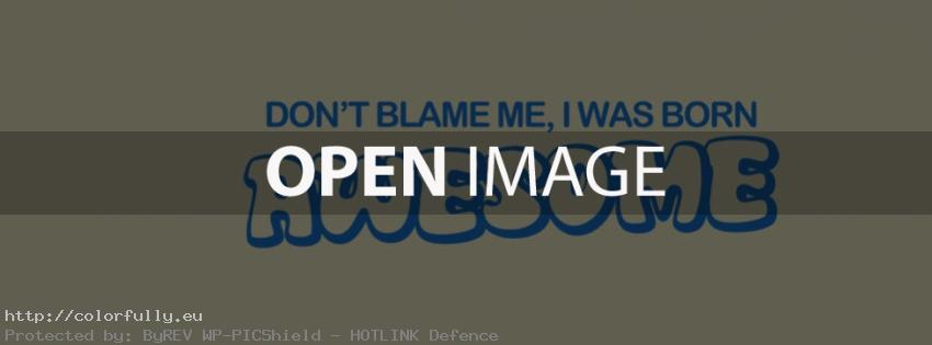 Don't blame me, I was born awesome - Facebook cover