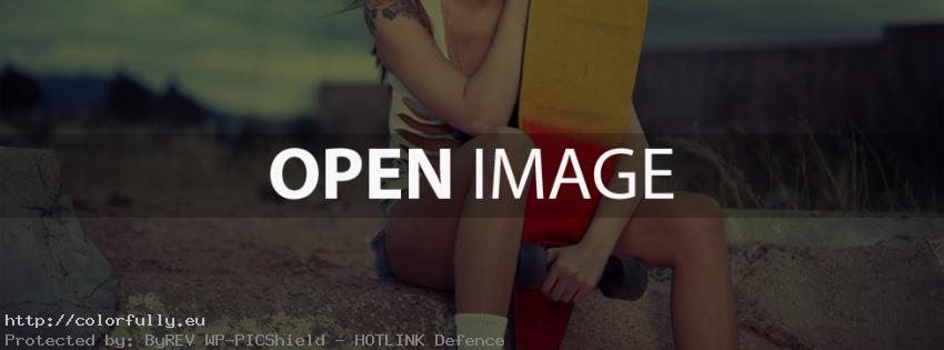 Skater girl with skateboard – Facebook cover