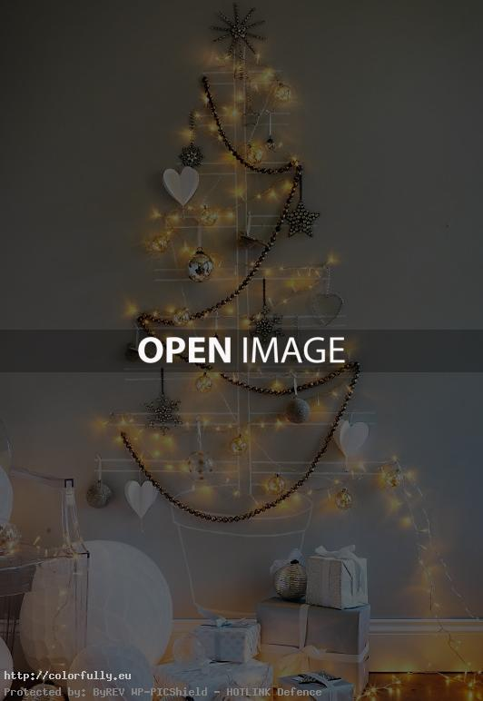 DIY Merry Christmas tree lights on the wall