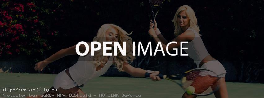 Two blondes playing tennis – Facebook cover